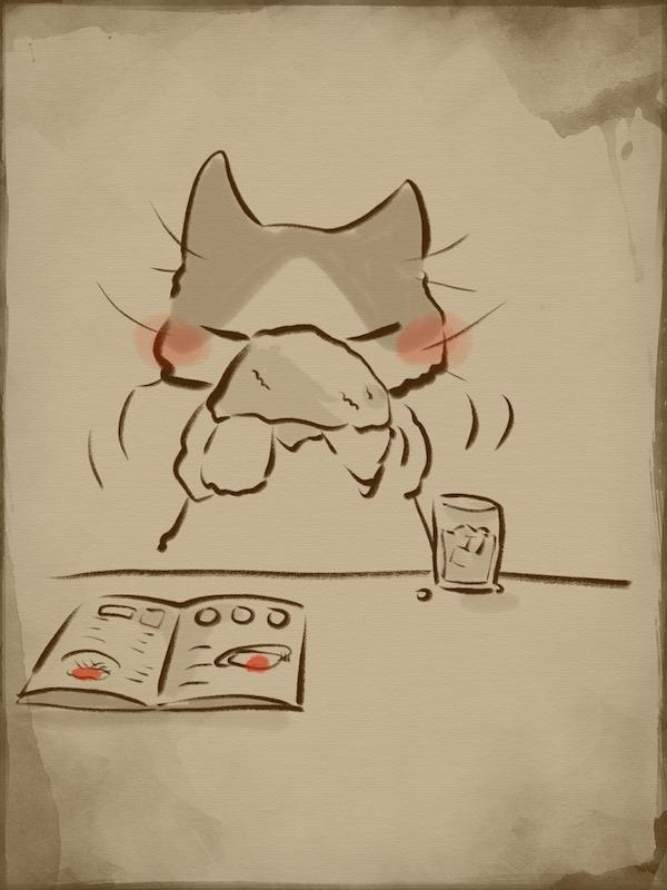 お昼の落書きおしぼりで顔を拭いちゃった猫 やとりえ Yatorie